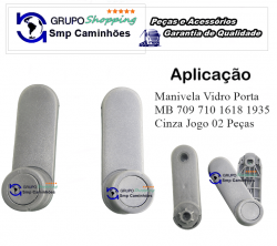 Manivela Vidro Porta MB 709 710 1618 1935 | Cinza Jogo 02 Peças