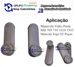 Manivela Vidro Porta MB 709 710 1618 1935 | Marrom Jogo 02 Peças